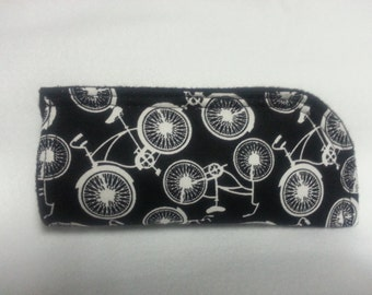 Bicycle Soft Eye Glass Case, Black and White