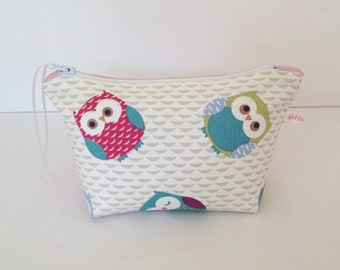 Owls & Pink Dotty Make Up Bag, Cosmetic Bag, Pouch