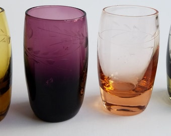 Set of 4 Multi-Colored Etched Shot Glasses