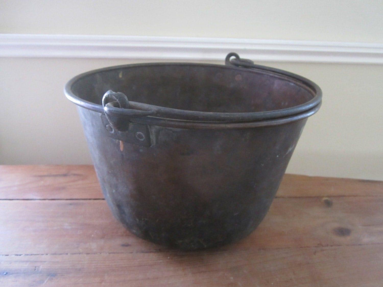 Antique tin pail old metal bucket vintage tin pail old for Old metal buckets