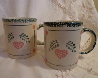 Green Spatterware Mugs, Pink Heart Spatterware Mugs, Folk Style Spongeware Mugs, Country Hearts Mugs