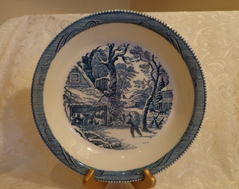 Blue Currier and Ives Pie Plate, A Snowy Morning Pattern, Blue White China Pie Plate, 1960s by Royal China