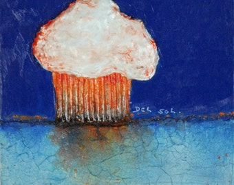 Orange Cupcake - Original Contemporary Cupcake Painting, Kitchen Art, Mixed Media & Collage, Free Shipping.