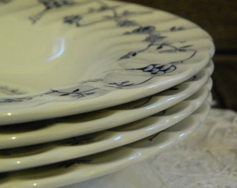 Churchill Finlandia Blue Swirl Rim/Soup/Pasta/Salad Bowls x 4
