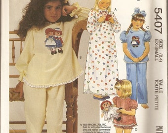 VINTAGE McCall's Sewing Pattern 5407 - Children's Clothes - Sleepwear Size 2-4