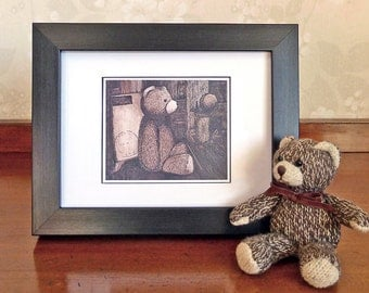 Teddy Bear Note Card, blank greeting card, cute art print to frame, nursery art, birthday card, Mothers Day card