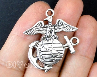 12pcs of Antique silver tone US Marine Corp EGA charm pendant 36x30mm