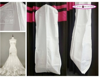 "White Breathable Bridal Wedding Gown Prom Dress Garment Bag Extra Long with 10"" Gusset"