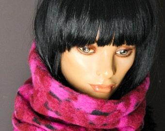 Tube Scarf Snood Collar Neckwarmer fleece wool raspberry pink black