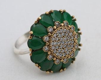 925 Sterling Silver Turkish Handmade Hurrem Rolexana Drop Emerald Topaz Ring 9