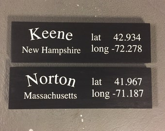 Location Sign Town Sign Latitude And Longitude House Warming Present Gps Coordinates Sign Family Vacation Spots Libation Destinations