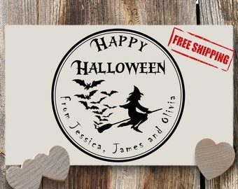 Halloween Custom Return Stamp - Family Hallooween - Self Inking Stamp - Wooden Handle Stamp - Rubber Stamp - Personalized Stationery #B61