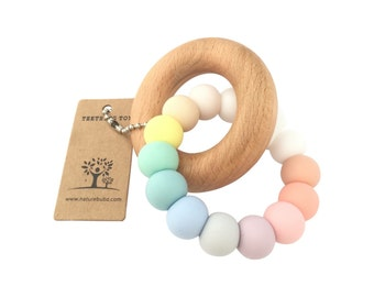 PASTEL RAINBOW Silicone + Beech | Baby Teether | Teething Toy | Baby Gift