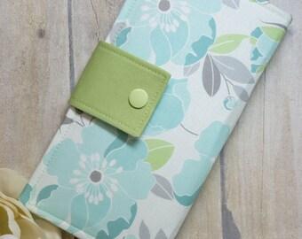 Womens wallet in light blue florals, bifold wallet, handmade wallet, fabric wallet, credit card wallet, clutch wallet, checkbook wallet