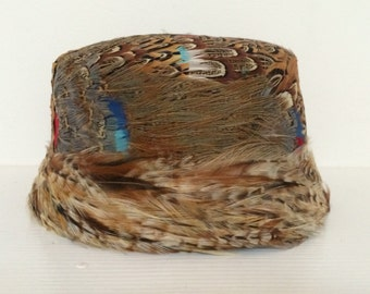 Colorful Pheasant Feather Vintage Hat