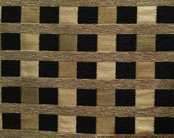 Black and Gold - Small Check Fabric - Upholstery Fabric by the Yard