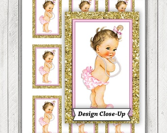 Pink Gold Baby Shower Gift Tags, Pink Gold Glitter Baby Shower Tags, Instant Download Baby Shower Tags, Brunette Girl Baby Shower Tags,Pearl