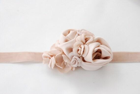 Nude color narrow velvet rose bridal belt;neutral bridal belt;velvet bridal belt