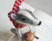 Felted badger, needle badger,  felt badger, needle felt, felted ornament, stuffed animal, figurine, cute character,  tender mouse