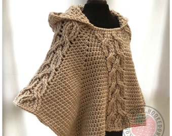Milena Twist Cable Hooded Poncho - Crochet PDF Pattern