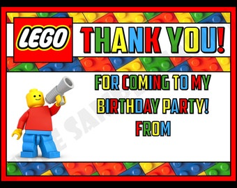 Bright & Colourful Lego Birthday Party Thank You Notes