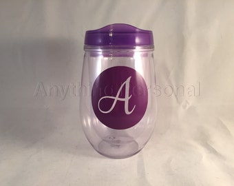 Personalized Cup, Monogrammed Gift, Wine Cup, Monogram Gift, Bev2Go, Beach Cup, Bachelorette Cup, Bridal Party Cup