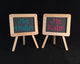 Teacher Gift, Teacher Easel, Teacher Desk Accessory, Personalized Gift, Personalized Teacher Gift, Teacher Present, Mini Easel, Teacher Name
