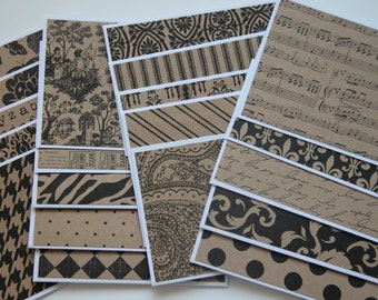 Kraft Note Card Set. 20 Assorted Blank Note Cards. Kraft Paper Stationery. Patterned Paper Note Cards. Thank You Card Set. Handmade Card Set