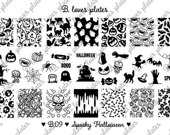 B.09 - spooky Halloween - LIMITED EDITION - nail stamping plates (B. Loves Plates )