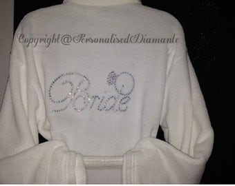 Bride robe, plush robe, personalized robe, personalised robe, christmas robe, Name robe,christmas gift