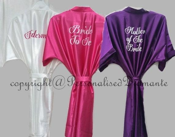 Wedding Gifts For Bridesmaids And Groomsmen Uk : Bride robe , Wedding robe , Satin Robe , bridal robe , Personalised ...