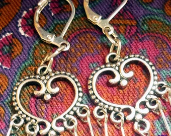 Silver Heart Dangle Earrings, Gifts for Her, Rococo Style, Morocco Style, Scrollwork Heart Earrings, Valentine's Day Gift, Mothers Day