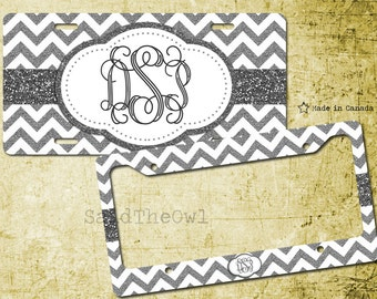 White and Silver, Grey, Glitter, Chevron Pattern, Cute Vanity Car Tag, Bike Tag, License Plate Frame - monogrammed license plate, 12