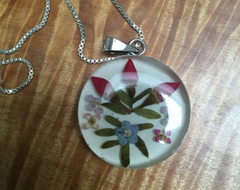 Sterling silver dried flower pendant and necklace