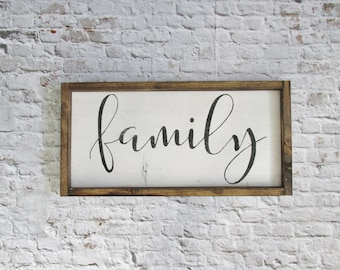 Family Wood Sign. Rustic Signs. Gallery Wall Decor. Farmhouse Decor. Wooden Signs. Rustic Decor. Wood Art. Gift under 50. Wedding Gift
