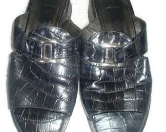 vintage leather Sandals slides moc croc vamp TOP indie boho women size 6 1/2 us SHOES