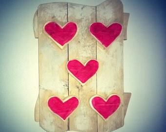 Red Heart Wooden Wall Art