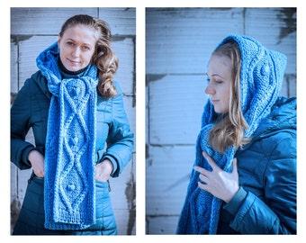 Hooded Scarf, Long Scarf, Wool Scarf, Chunky scarf, Wool cowl  hood,  Long scarf hooded by LoveKnittings