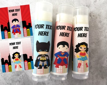 Superhero Party Favors - Set of 5 - Superhero Theme - Customized Lip Balm - Kids Lip Balm - Free Customization - Lip Balm - Superhero Party