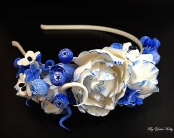 Flowers Headband, Flower crown headband,  Blue Flower Crown, Headband Flower, Floral hairpiece, Boho headpiece, Ethnic style headband