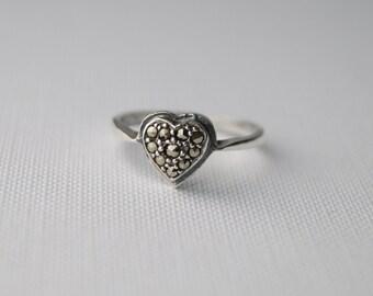 Vintage Sterling Silver Marcasite Ring - Vintage Silver Heart Ring - Vintage Marcasite - Vintage Ring - Vintage Silver Ring Size 7 or N 1/2