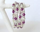 Memory Wire Wrap Bracelet - Pearl Bracelet - Purple Beaded Bracelet - Boho bracelet - Multistrand bracelet - Stacked bracelet - Womens Gift