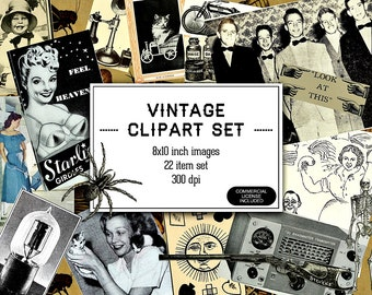 Vintage Ephemera Clipart Images - Retro Image Clippings of Old Ads - Clip Art Scraps Scrapbooking Graphics - Altered Art - INSTANT DOWNLOAD