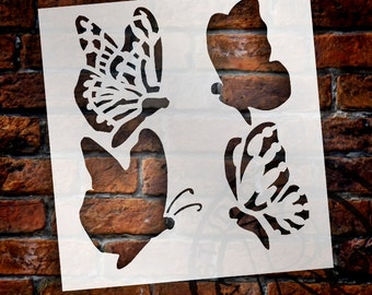 "Monarch Butterfly Profiles - Art Stencil - 12.5"" x 12"" - STCL1424 - by StudioR12"