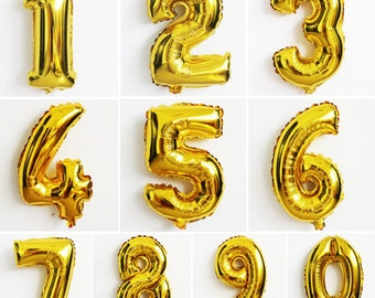 40 inch Gold number  balloon.  number 1-9 balloon, Gold foil balloon 0,1,2,3,4,5,6,7,8,9