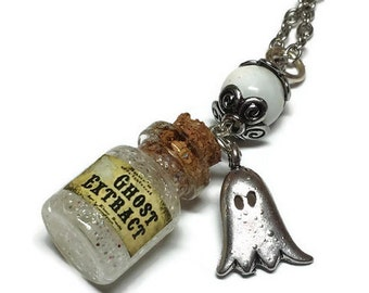 Ghost Extract Bottle Necklace - Halloween Jewelry