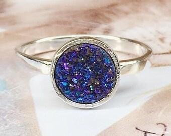 Druzy Ring,Drusy Ring,Druzy Quartz,Agate Ring,Stone ring,Gemstone ring,Sparkle ring,Stacking,drusy,Druzy,Silver ring,Purple Druzy Ring