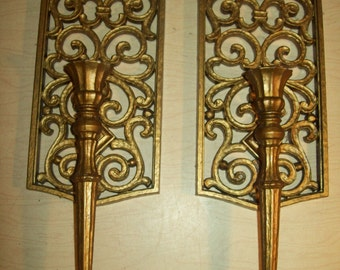 2 Gold Tone~Dart Inc~USA Made~Wall Sconces~1970~Plastic~Hollywood Regency