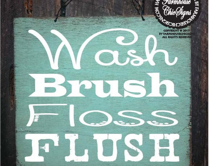 bathroom decor, bathroom sign, bathroom decoration, kids bathroom decor, wash brush floss flush sign, 78