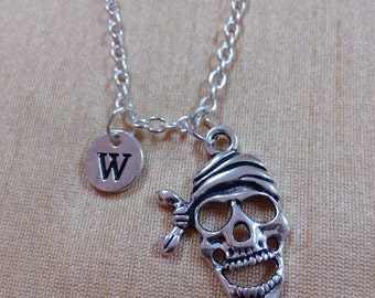 KIDS SIZE - Pirate skull charm necklace - skull jewelry, pirate necklace, treasure jewelry, skull necklace, silver skull necklace